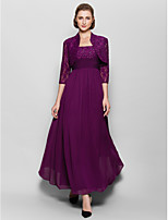A-line Mother of the Bride Dress - Grape Ankle-length 3/4 Length Sleeve Chiffon / Lace