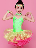 Latin Dance Outfits Children's Performance Spandex / Polyester Ruffles 4 Pieces Fuchsia / Green / Yellow