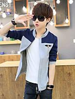 YISHION blue autumn thin youth Jacket Mens Casual coat jacket collar slim.