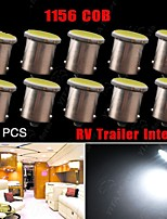 10X White 1156 BA15S 1141 93 2W COB LED RV Trailer Camper Trunk Interior Light