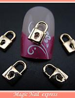 100pcs New Fashion 8X5mm Gold Metal Lock Shape Nail Art
