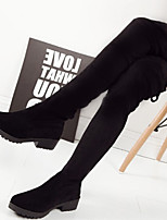 Women's Shoes Frosted Round Toe Leg Slimming Chunky Heel Comfort Boots Dress / Casual Black