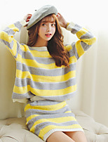 Women's Striped Blue / Yellow Pullover , Casual Long Sleeve Set