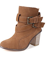 Women's Shoe   Chunky Heel Round Toe Boots Casual Black / Brown
