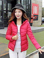 Women's Solid Red / White / Black / Green Parka Coat , Casual Hooded Long Sleeve