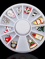 3D Alloy Christmas Design Nail Art Decoration Wheel Glitter Rhinestone