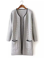 Women's Solid Casual Long Sleeve Cardigan with Pockets