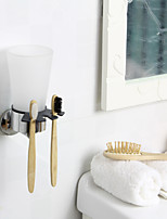 ENZORODI Bathroom Accessories,Toothbeush Holder,With Glass Cup Sets,Chrome Finish Brass,Wall Mount ERD7490C