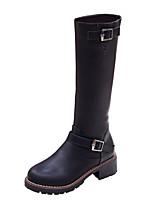 Zapatos de mujer - Tacón Robusto - Cuñas / Botas Anfibias / Punta Redonda - Botas - Vestido / Casual - Semicuero - Negro / Marrón / Gris