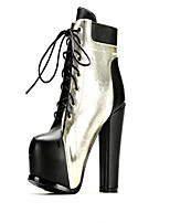 Women's Shoes   Chunky Heel Round Toe Boots Casual Silver / Gold