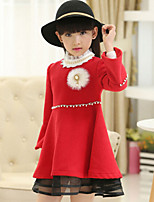 Girl's Red Dress , Lace Wool Blend Winter / Spring / Fall