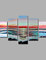 Hand-Painted Oil Painting on Canvas Wall Art Modern Seascape Sunrise Waves Rock Home Deco Five Panel Ready to Hang