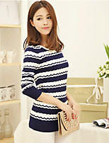 Women's Striped Blue / Pink / Red / Yellow Pullover , Casual Long Sleeve