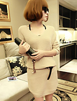 Women's All Match V Neck Solid Knit Dress , Casual / Work Long Sleeve