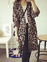 Women's Leopard Khaki / Gray Coat , Casual Long Sleeve Knitwear