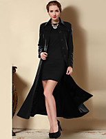 Damen Mantel  -  Retro / Sexy / Leger / Party / Arbeit / Übergröße Langarm Wolle / Baumwolle / Polyester / Nylon / Acryl