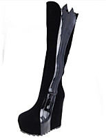 Women's Shoes Suede Wedge Heel Round Toe Boots Casual Black / White