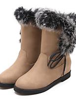 Calçados Femininos - Botas - Botas da Moda - Salto Baixo - Preto / Verde / Bege - Courino - Ar-Livre / Social / Casual