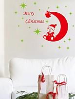 2015 New ZooYoo®Xmas28-NO Merry Christmas Stars Moon Bear Wall Stickers Christian Room Home Decoration