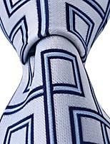 New Square Pattern Silver Blue Necktie Men Leisure Silk Tie