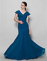 Brautjungfernkleid - Tintenblau Chiffon - Eng anliegend & weit auslaufend - Sweep / Pinsel Zug - 1-Schulter