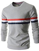 Men's Long Sleeve T-Shirt , Spandex Casual Striped