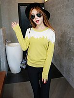 Women's Patchwork Black / Green Pullover , Casual Long Sleeve