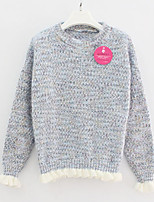 Women's Solid Blue / Pink / Beige Pullover , Sexy / Casual Long Sleeve