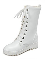 Women's Shoes Wedge Heel Wedges / Fashion Boots / Round Toe Boots Dress / Casual Black / White