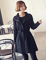 Women's Solid Black Coat , Vintage Long Sleeve Others