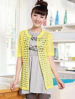 Women's Solid Pink / Red / Green / Yellow / Beige Cardigan , Sexy / Casual Short Sleeve