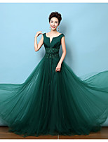 Formal Evening Dress - Dark Green A-line V-neck Court Train Lace / Satin