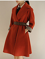 Women's Solid Red / Gray Trench Coat , Casual Long Sleeve Polyester