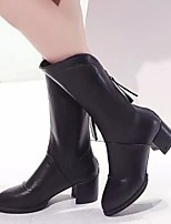 Women's Shoes Chunky Heel Pointed Toe Fashion Mid-Calf Boots Casual Black