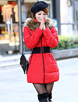 Women's Solid Blue / Red / Black / Yellow / Beige Parka Coat , Bodycon Hooded Long Sleeve