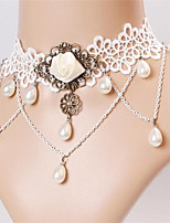 Wind Lace White Retro Rose Pearl  Bridal Necklace