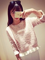 Women's Color Block Blue / Pink / White Pullover , Casual / Cute / Work Long Sleeve