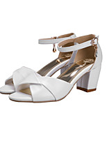 Women's Shoes Leatherette Chunky Heel Ankle Strap / Styles / Open Toe Sandals Outdoor / Casual Blue / Pink / White