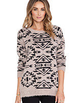Women's Print Gray Pullover , Casual Long Sleeve