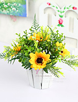 Home Decoration Polyester Sunflowers Artificial Flowers
