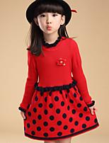Girl's Black / Red Dress , Dot Wool Blend Winter / Spring / Fall