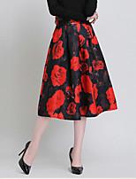 Women's Print Blue / Red Skirts , Vintage Midi