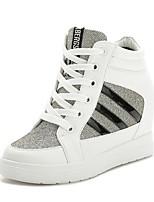 Scarpe Donna - Sneakers alla moda - Tempo libero / Sportivo - Punta arrotondata - Zeppa - Finta pelle - Nero / Bianco