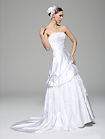 웨딩 드레스 - 화이트 A 라인 쿼트 트레인 튜브탑 레이스 / 사틴
