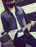 Men's Pure Long Sleeve Jacket , Denim / Others Casual / Plus Sizes