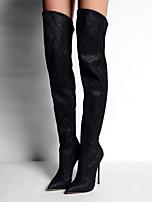 Women's Shoes Fleece Stiletto Heel Fashion Boots Boots Office & Career / Party & Evening / Dress Black