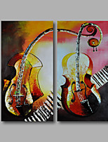 Ready to Hang Hand-Painted Oil Painting on Canvas Wall Art Contempory Abstract Musical Instrument Home Deco Two Panels