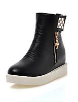Women's Shoes Leatherette Platform Round Toe Boots Casual Black / White