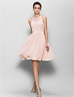 Knee-length Georgette Bridesmaid Dress - Pearl Pink A-line Jewel