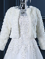 Wedding Faux Fur Shrugs Long Sleeve Wedding  Wraps